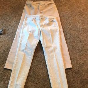 29/8 tan & tan/white jeans. Modern  skinny style